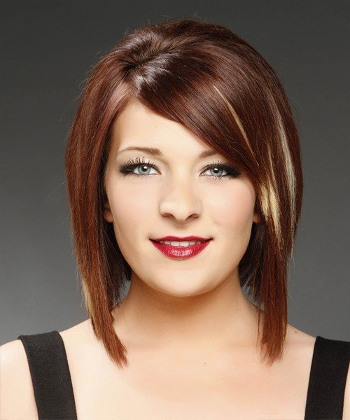 The Best Medium Straight Formal Bob Hairstyle Mahogany Red Hair Pictures