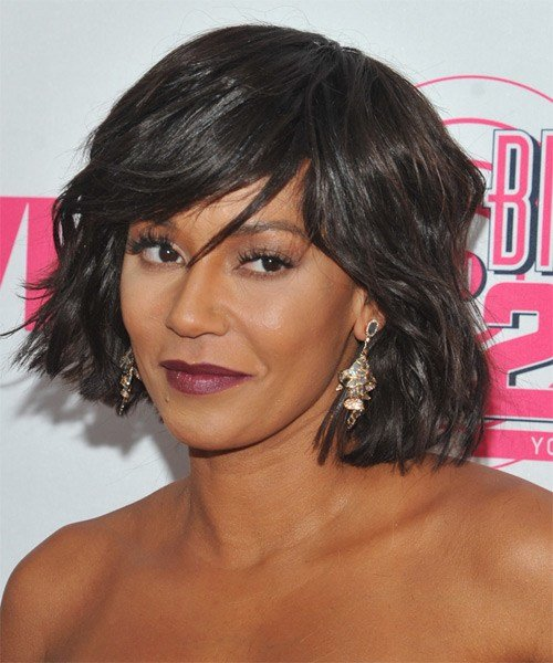The Best Mel B Medium Straight Casual Hairstyle With Side Swept Bangs Dark Brunette Hair Color Pictures