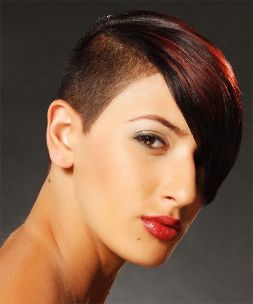 The Best Short Straight Alternative Undercut Hairstyle With Side Swept Bangs Dark Red Hair Color With Pictures