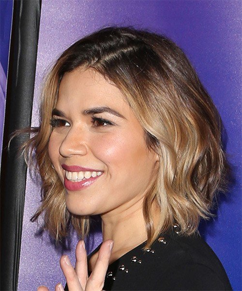 The Best America Ferrera Cool Medium Wavy Casual Bob Hairstyle Pictures