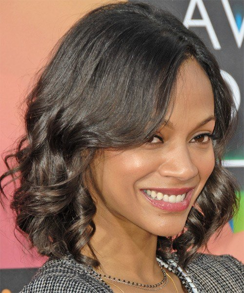 The Best Zoe Saldana Medium Wavy Casual Hairstyle Pictures