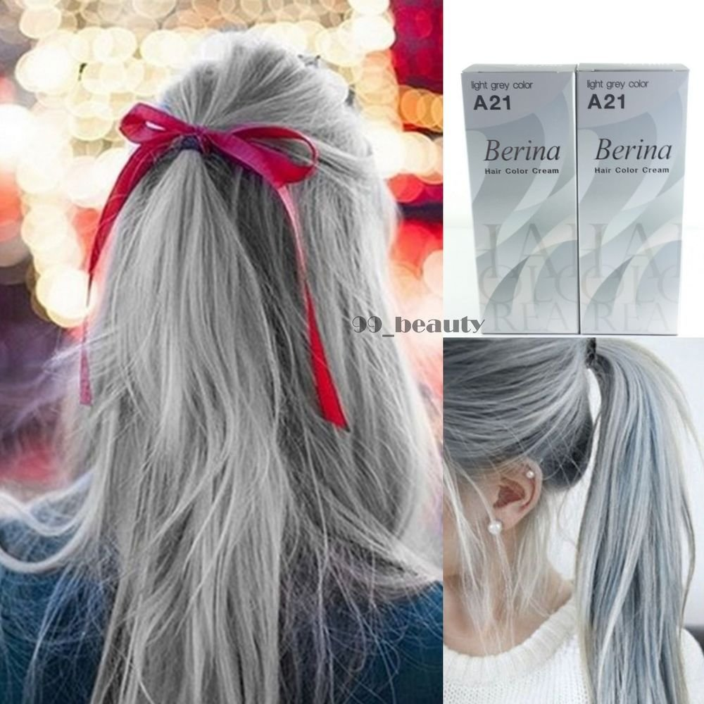 The Best Berina A21 2 Boxes Light Grey Silver Permanent Hair Dye Color Cream Punk Style Ebay Pictures