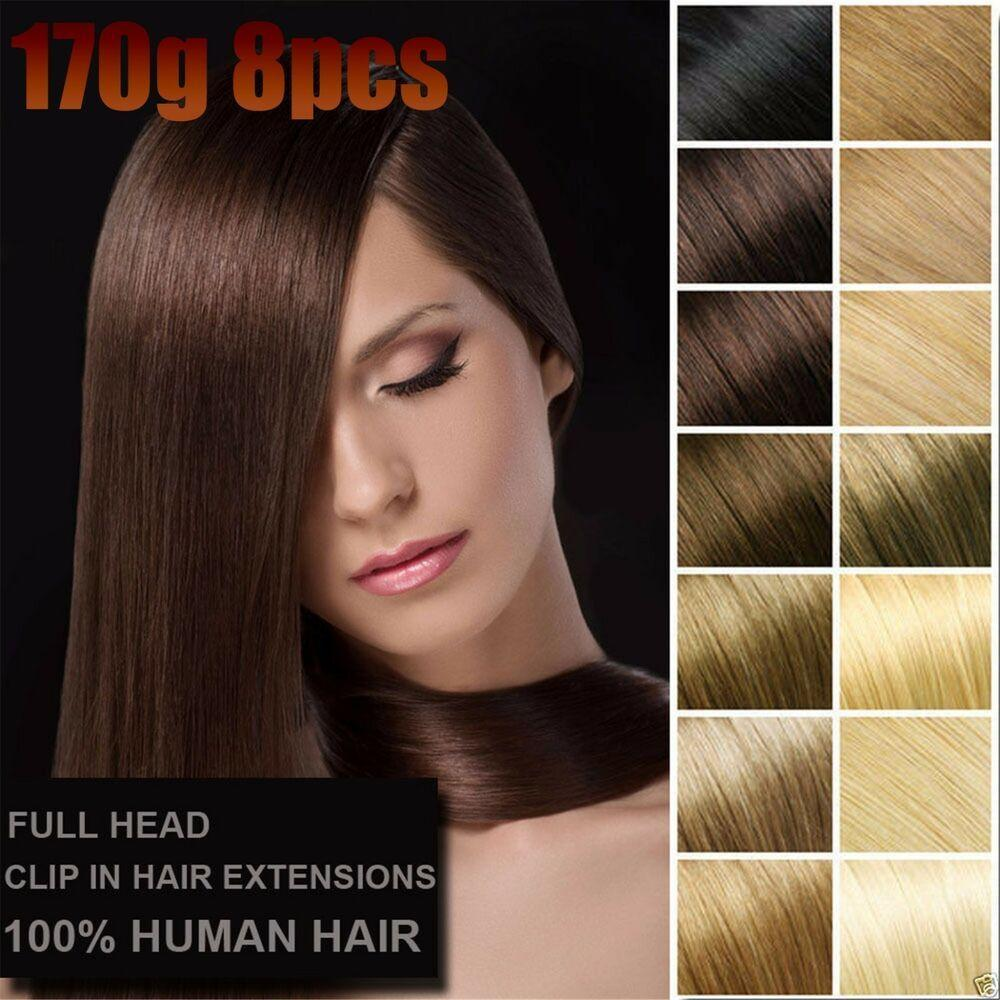 The Best 8Pcs 170G Straight Remy V*Rg*N Clip In 100 Real Human Hair Pictures