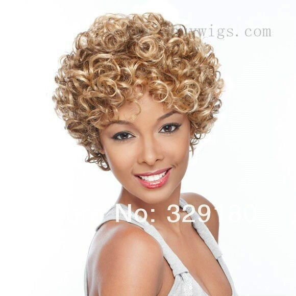 The Best Capless Beautiful Mix Color Short Blonde Afro Curly Wigs Pictures