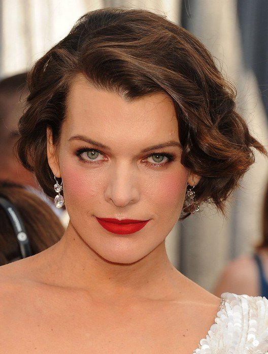 The Best Milla Jovovich Short Brown Bob Hairstyle With Bouns Waves Pictures