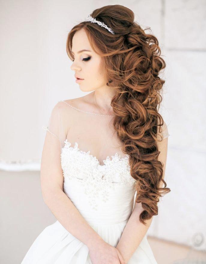 The Best Long Curly Half Up Half Down Wedding Hairstyle Pictures