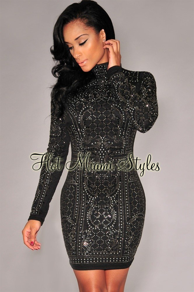 The Best Black Chrome Stones Quilted Turtleneck Dress Pictures