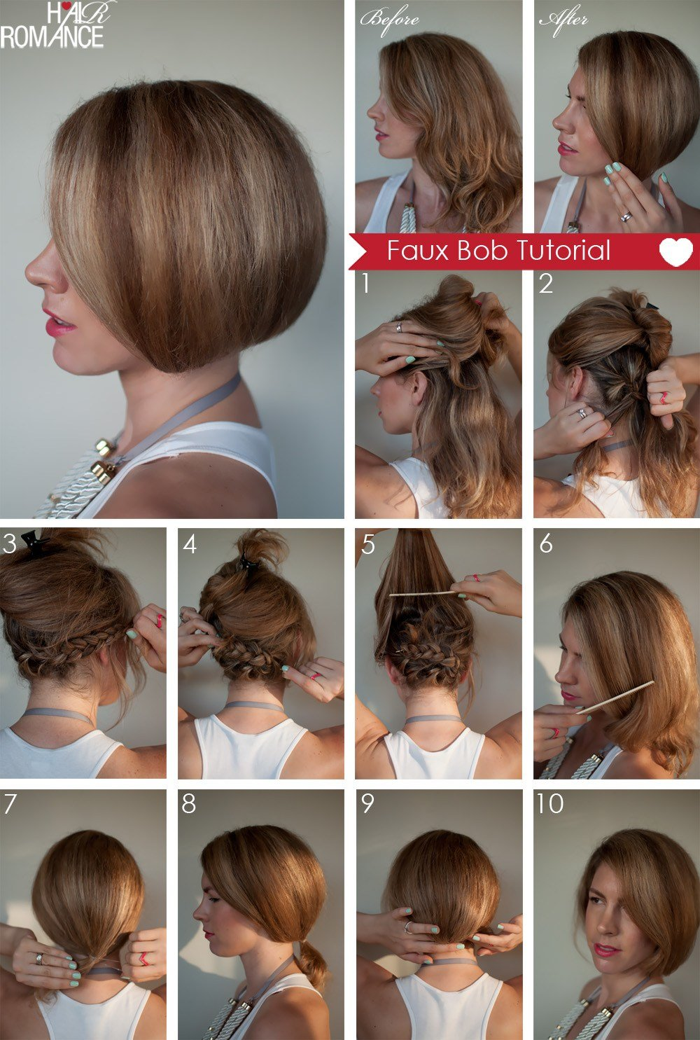 The Best Hair Tutorial How To Create A Faux Bob Hair Romance Pictures