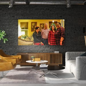 A mock up of a wall art of an Holiday Family Portrait of a Filipino family Joyslin Tricia marquez eden marquez ricky marquez