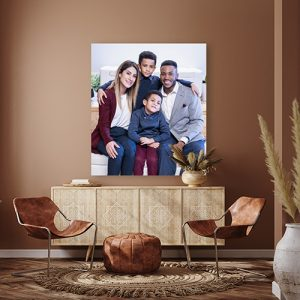 A mock up of a wall art of an Holiday Family Portrait of a mixed family