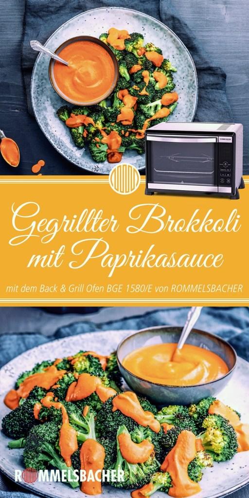 Rezept Gegrillter Brokkoli mit Paprikasauce aus Miniofen Rommelsbacher