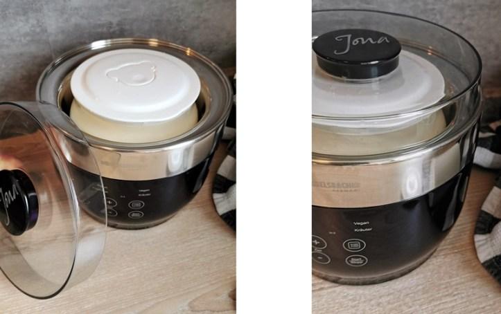 Zubereitung von Joghurt im JG 80 Joghurtmaker Jona von Rommelsbacher - Doppelbild