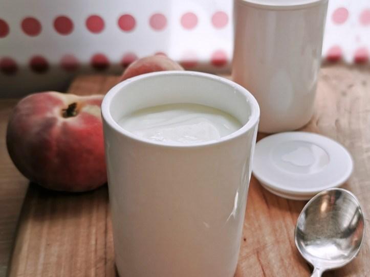 Naturjoghurt im Keramikbecher - mit Pfirsichen - Rommelsbacher Joghurtbereiter