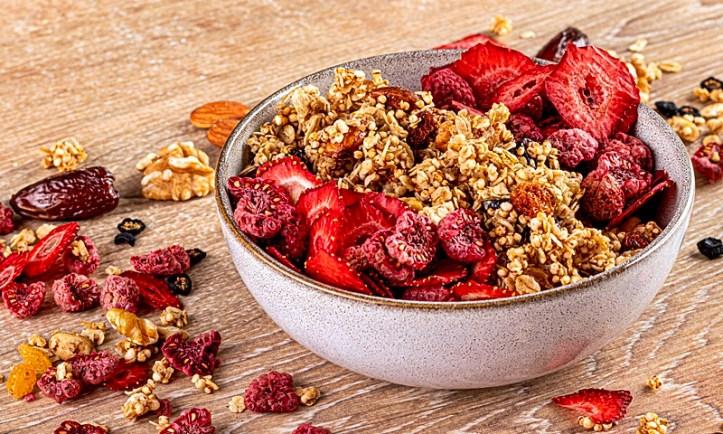 Granola Knuspermüsli aus dem Dörrgerät mit gedörrten roten Früchten - Dörrautomat Rommelsbacher