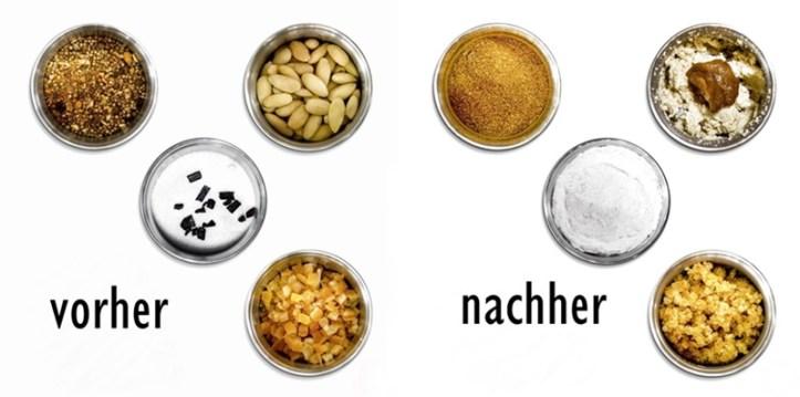 Vorher - nachher. Nüsse, Orangeat, Zucker und Gewürze verarbeiten mit der Gewürz- und Kaffeemühle EGK 200 von Rommelsbacher