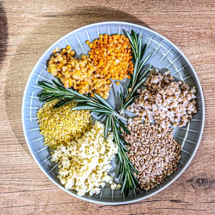 Hülsenfrüchte im Reiskocher zubereiten - vorher und nachher - bulgur, Dinkel wie Reis und rote Linsen - by Rommelsbacher