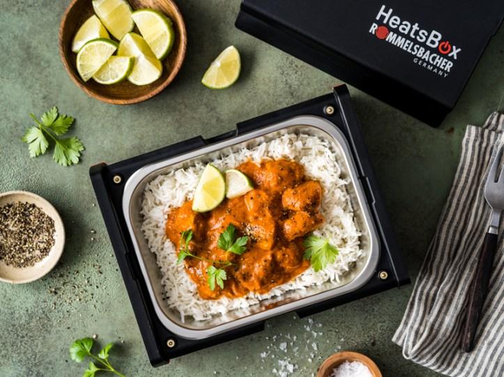 Butter Chicken zum Mitnehmen - Mit Reis in der elektrischen Lunchbox HB 100 HeatsBox von Rommelsbacher
