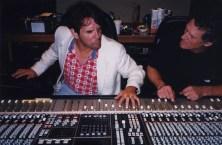 Topper Price and RoMo at mixing board, Bates Bros. Studio