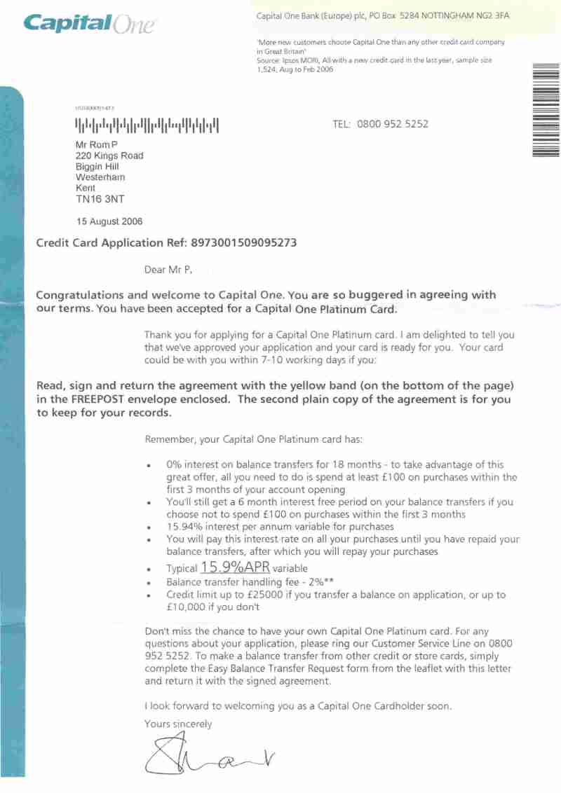 Capital One Credit Card Agreement Uk Invisite