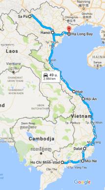 Route rondreis Vietnam