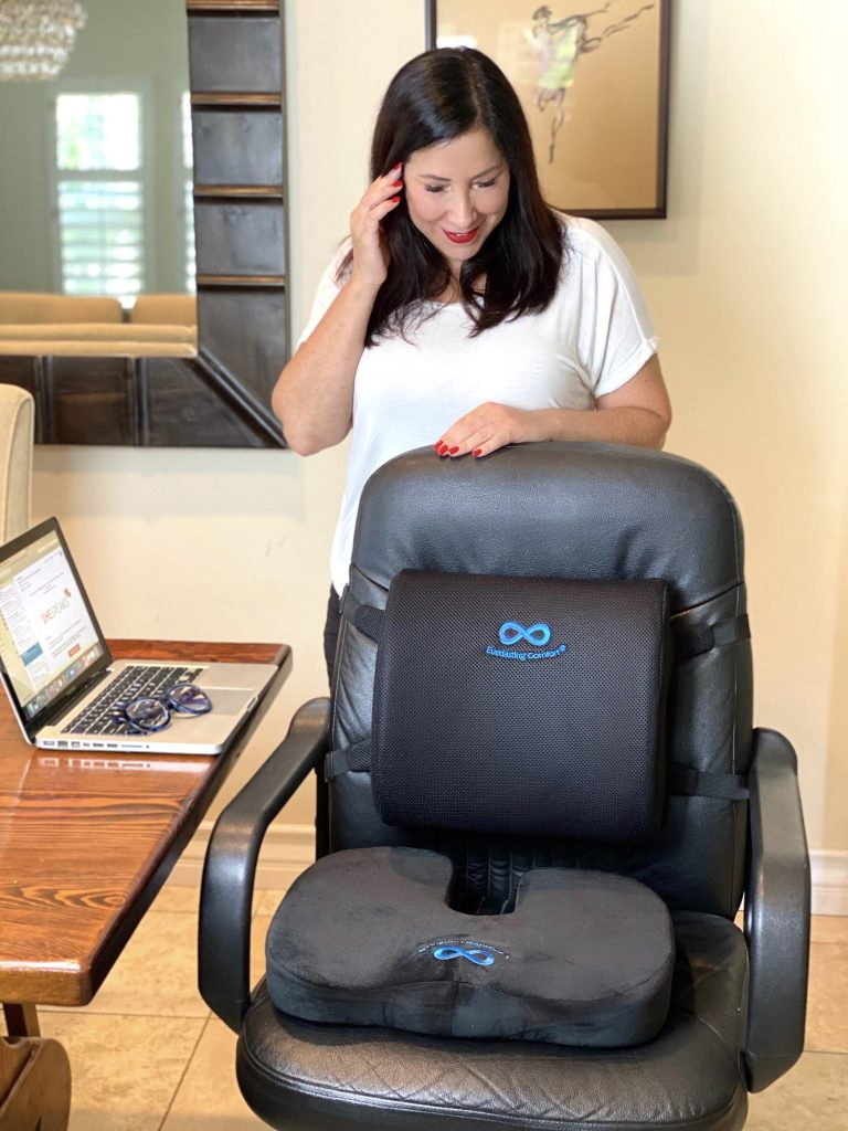 I recently discovered fabulous lumbar back and seat cushions that make my office chair incredibly supportive and comfortable