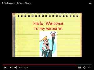 Website mit Comic Sans