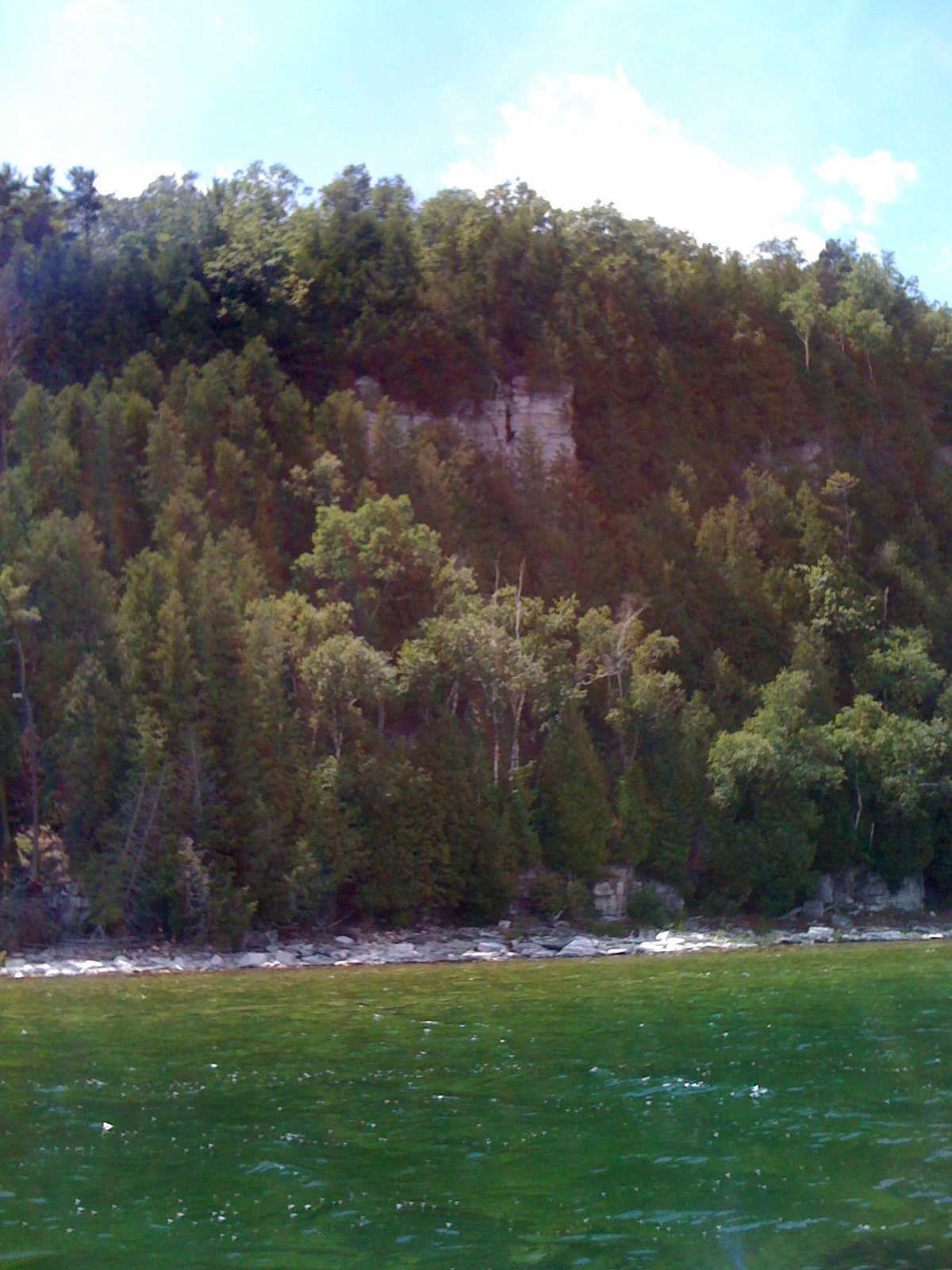 View of the Cliffs of Ellison Bay from the boat