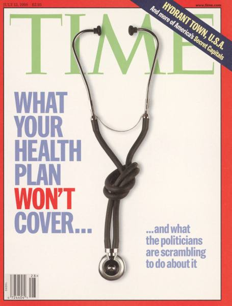 TIME cover 07-13-1998, knotted stethoscope used to symbolize problems in the health care industry.