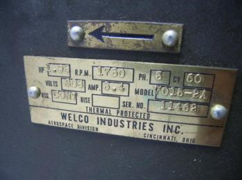 Welco brass plate