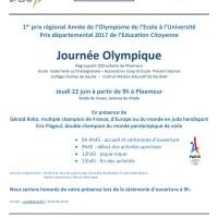 Journée Olympique le 22 juin Plaine Oxygène à Ploemeur. Prix Departemental de l'éducation citoyenne