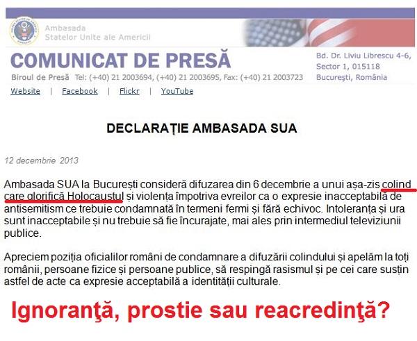 Ambasada SUA la Bucuresti in scandalul colindei antisemite - prostie sau reacredinta