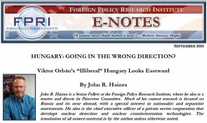Foreign Policy Research Institute - Romania Hungary - Bogdan Diaconu - Sept 2014