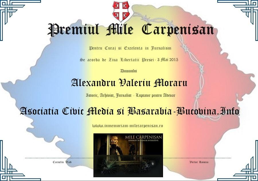 Premiul Mile Carpenisan Civic Media 2015 Alexandru Moraru Basarabia
