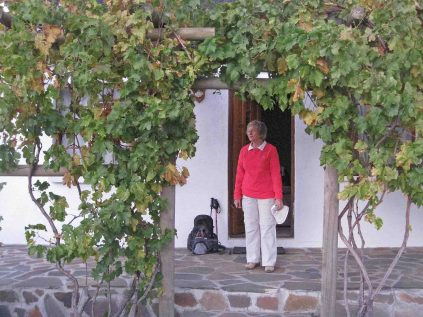 Renee outside her cottage