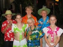 The grandchildren in local garb