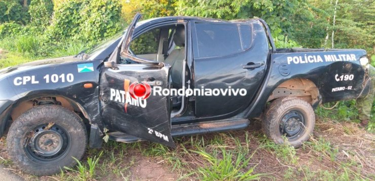 CAPOTAMENTO: Viatura da PM se envolve em grave acidente em rodovia de Rondônia