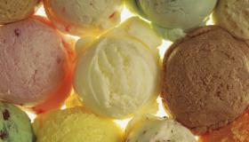 Overhead view of scoops of ice cream