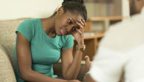 A young woman in a therapy session.