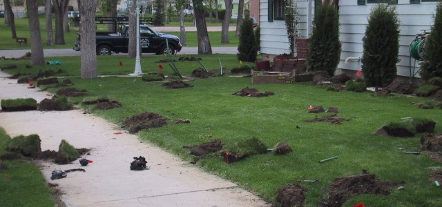 Yard that has been dug up during installation