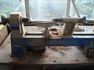 Scheppach bench mounted wood turning lathe