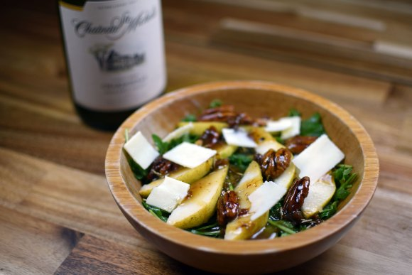 Pear, Maple Pecans, and Arugula Salad with Fig Vinaigrette