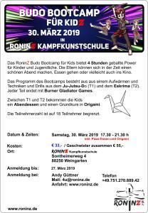 Budo Bootcamp für Kids 30.03.2019 Flyer