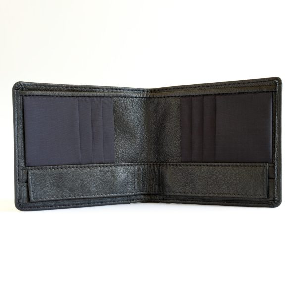Leather version of the RONKER Wallet, open, empty