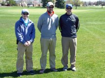 Golf Course Superintendent, Chase Walden (rt) with part of his hard working staff, Daniel Hayman and Aaron Burris (lt to rt)