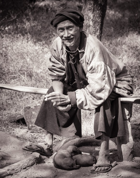 Lao Man with Puppies