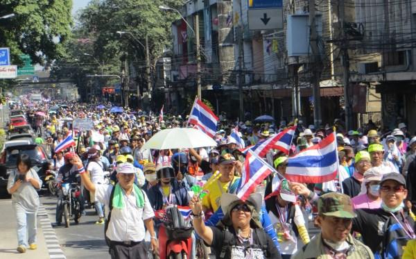 Protesters close down major streets in Bangkok