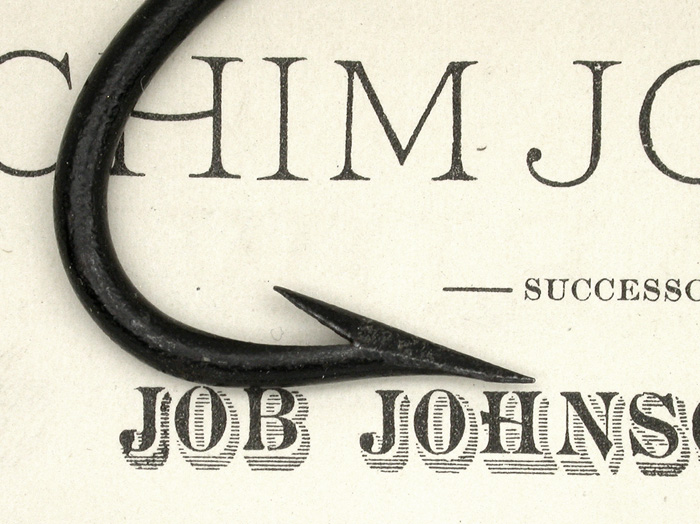"1. This great original advertisement by Achim Johnson, Job's son, was taken from an 1882 book/magazine. It is about 5 ½"" x 8 ¼"". The hook laying on it, I believe to be a Job Johnson original. Most of the original japan remains on the hook which is in near new condition. It is about 3 5/8"" long with a gape of about 1 ¼""."