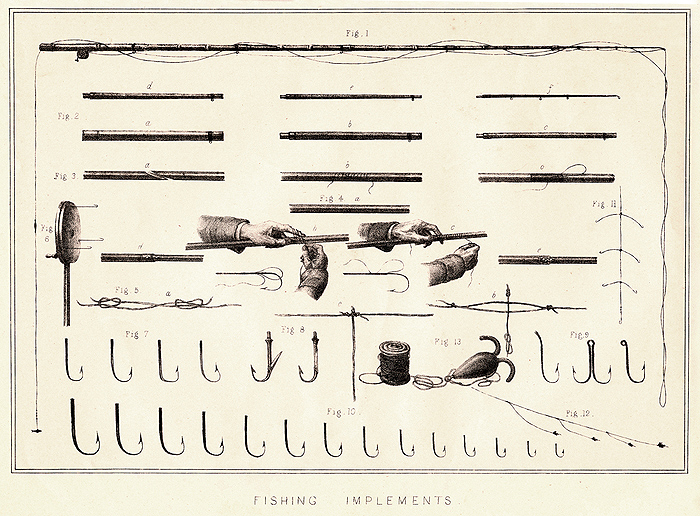 """Fishing Implements"" A vintage engraving depicting fishing items. This engraving is from Henry Downes Miles ""British Field Sports..."" published in London by William Mackenzie, circa 1870."