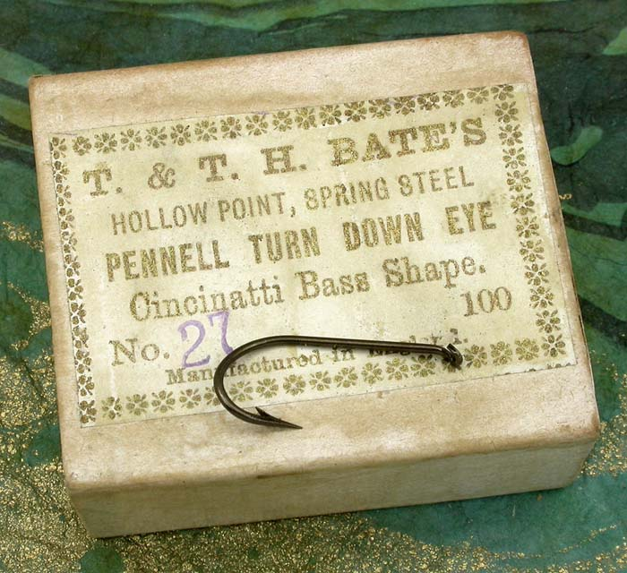 14. T & TH Bate's, Pennell turn down eye, Cincinatti Bass shape, hollow point, #27, bronzed. Ca 1843 to 1852