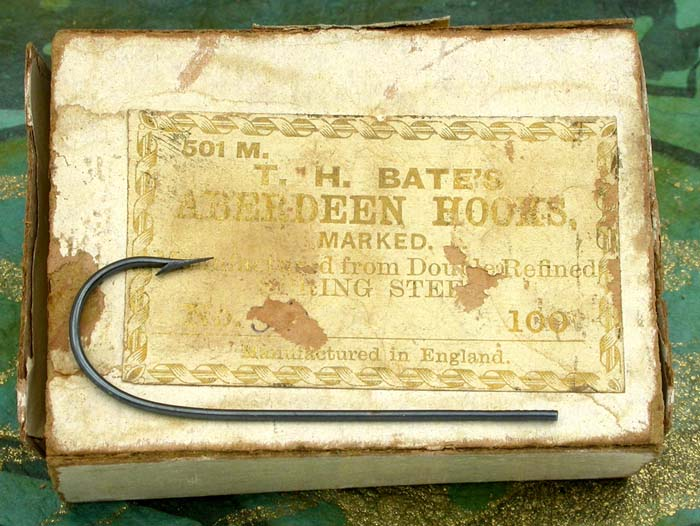 "19b TH Bate's Aberdeen hooks, size ?, No. 501, marked, blued. About 1 ¾"" long. Ca 1859 to 1874"